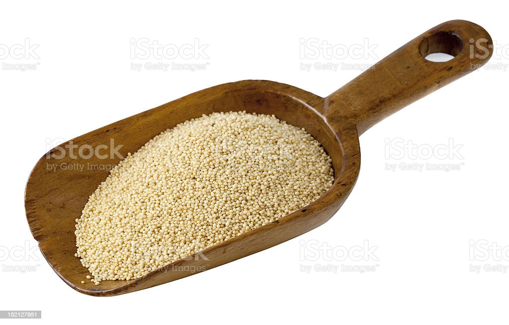 rustic scoop of amaranth grain stock photo