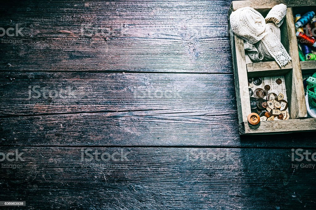 Rustic sewing workshop stock photo