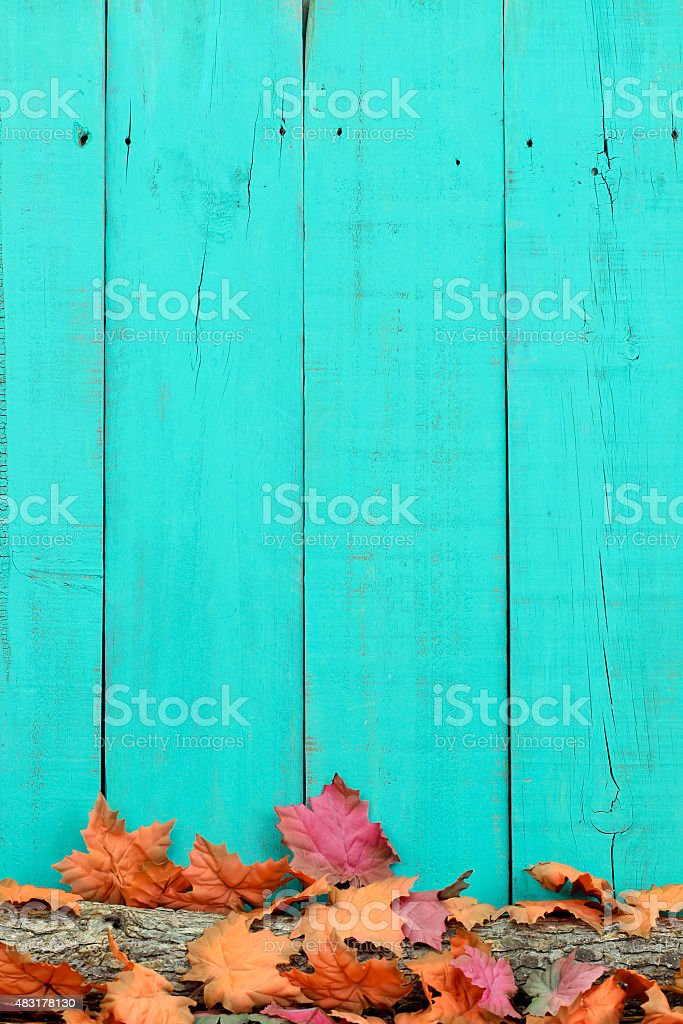 Rustic sign with fall foliage border stock photo
