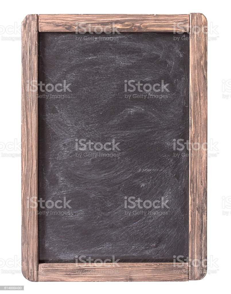 Rustic slate menu blackboard isolated stock photo