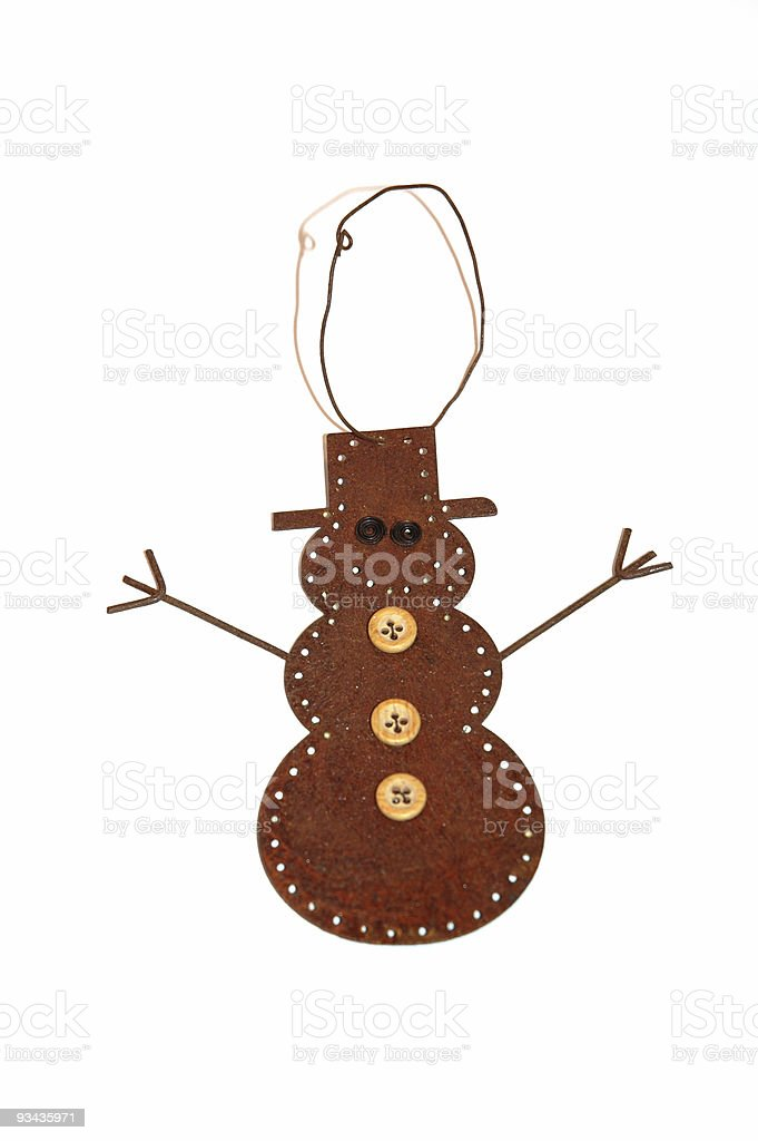 Rustic Snowman Ornament royalty-free stock photo