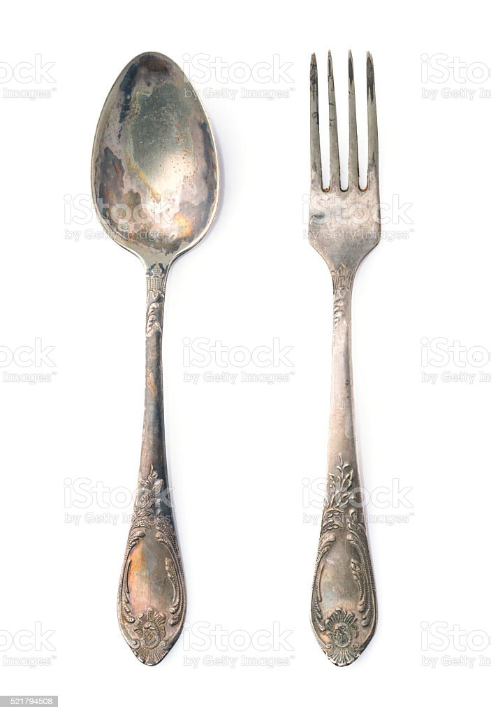 Rustic spoon and fork stock photo