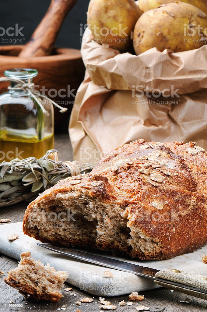 Rustic still-life with fresh bread royalty-free stock photo