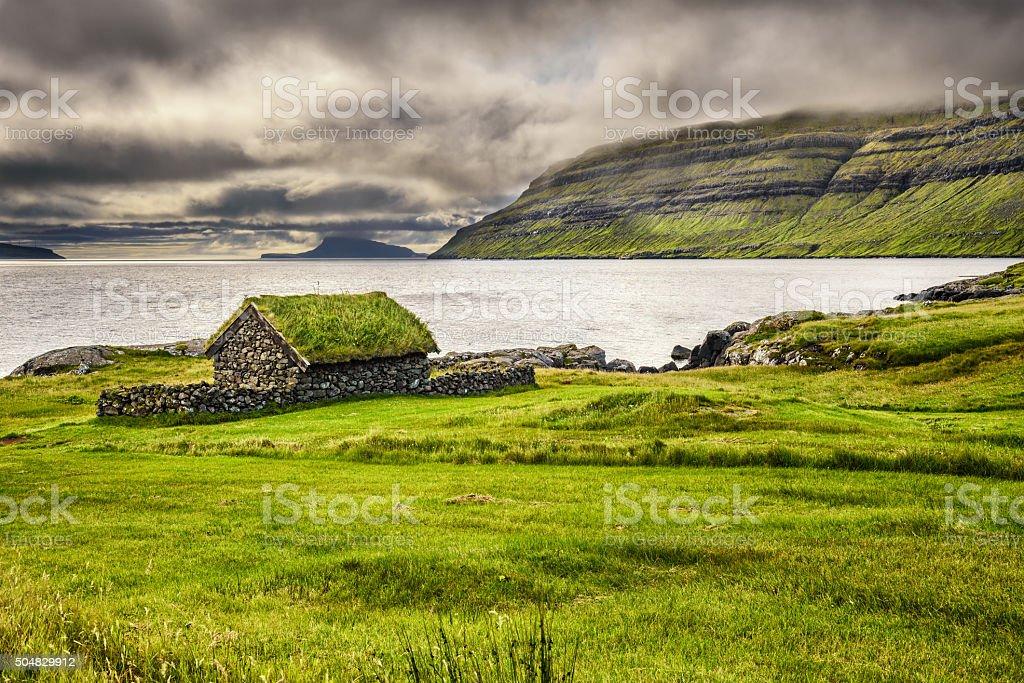 Rustic stone cabin on Faroe Islands, Denmark stock photo