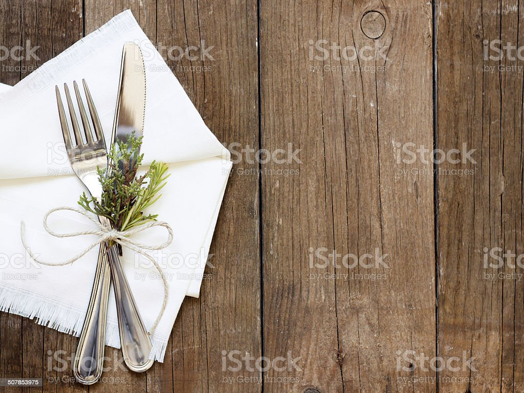Rustic Table setting on old wooden table stock photo