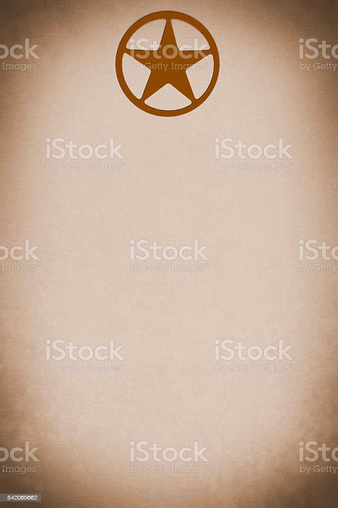 Rustic Texas star on poster or blank stationery.  Vignette. Sepia. stock photo