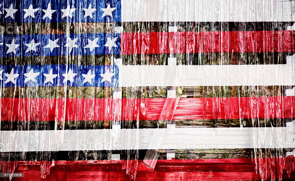 Rustic, textured American flag with wood effect overlay. Patriotism. stock photo