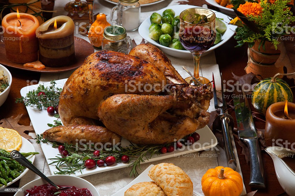 Rustic Thankgiving Dinner stock photo