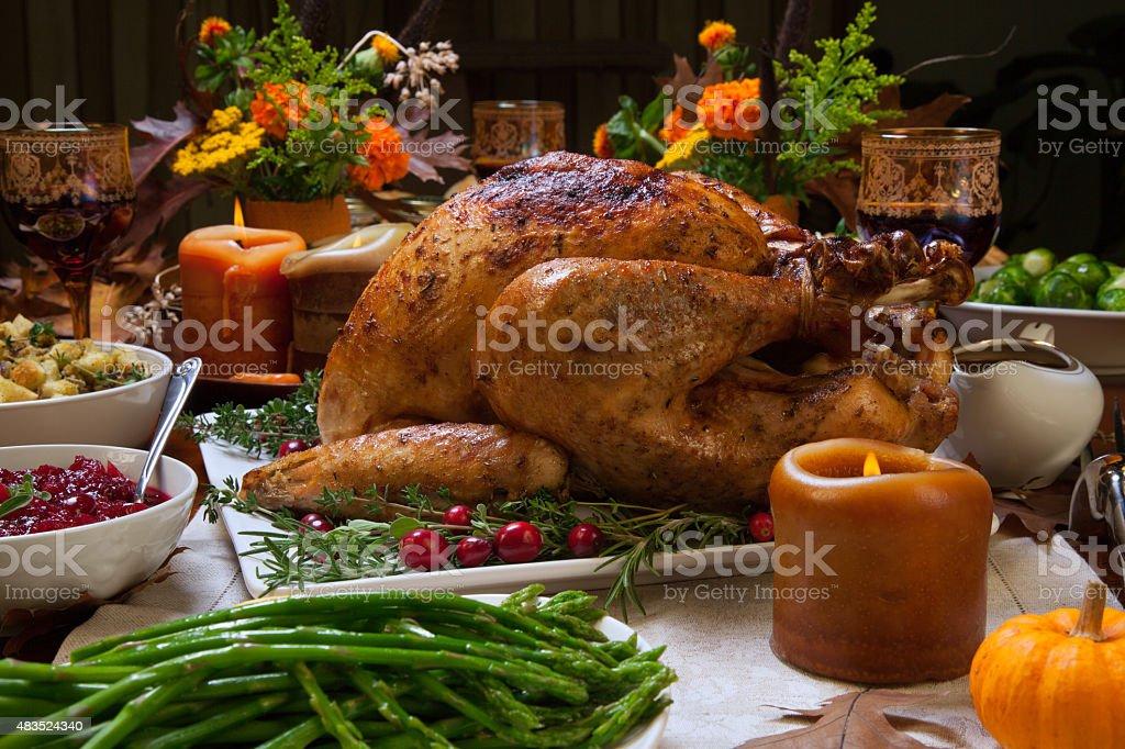 Rustic Thankgiving Dinner stock photo