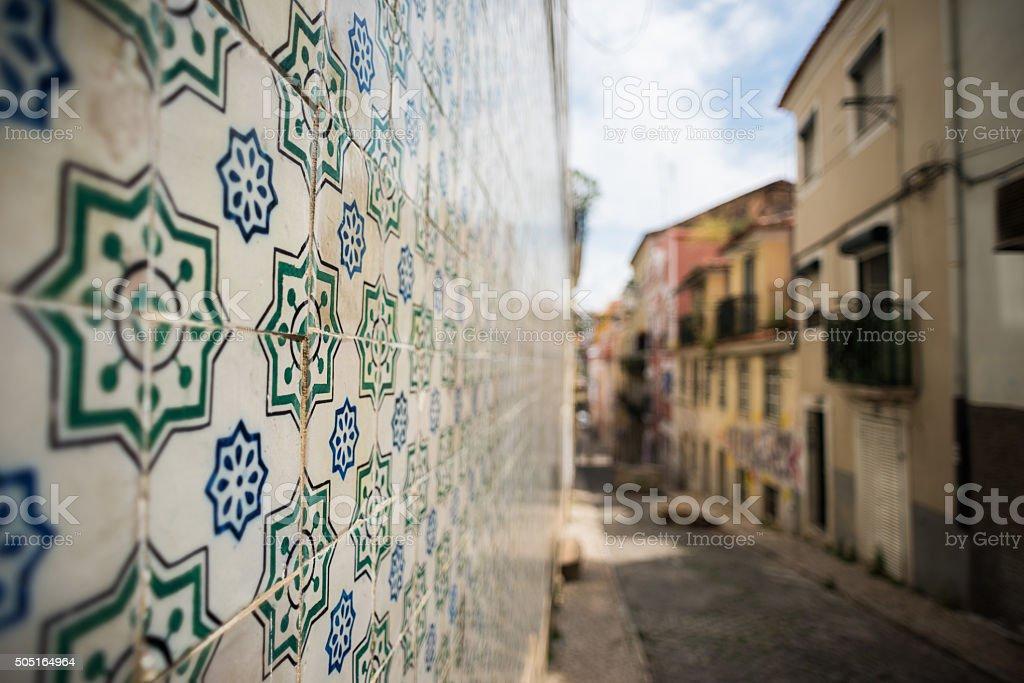 Rustic tile in an alleyway stock photo