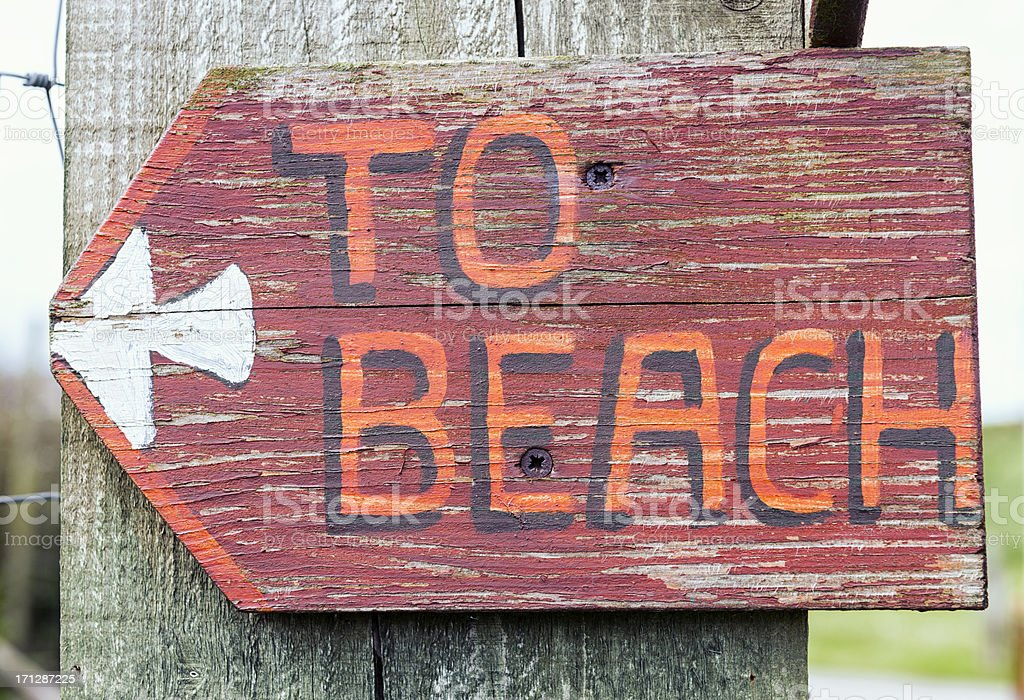 Rustic 'To Beach' Sign stock photo