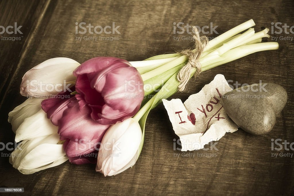 Rustic Valentine's Day Message stock photo