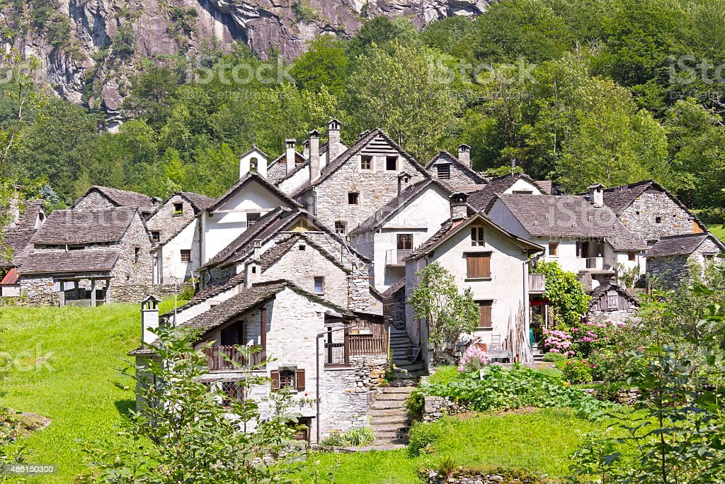 Rustic Village in Ticino stock photo