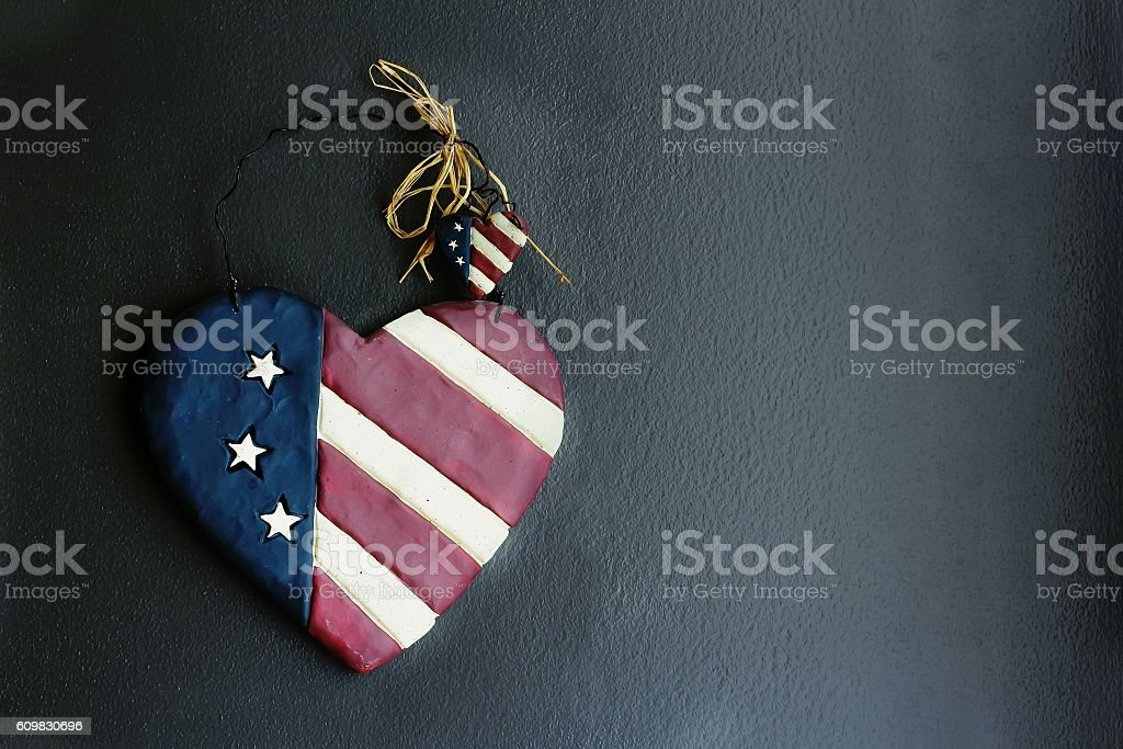 Rustic vintage USa flag background with copy space stock photo