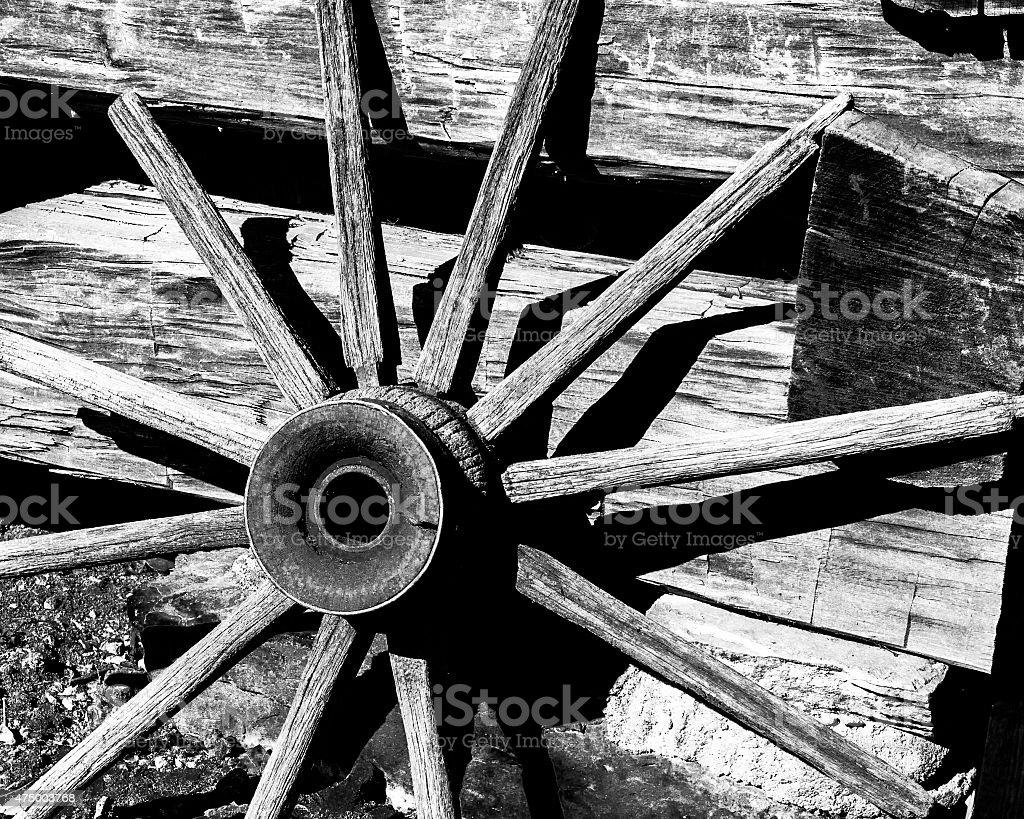Rustic Wagon Wheel stock photo