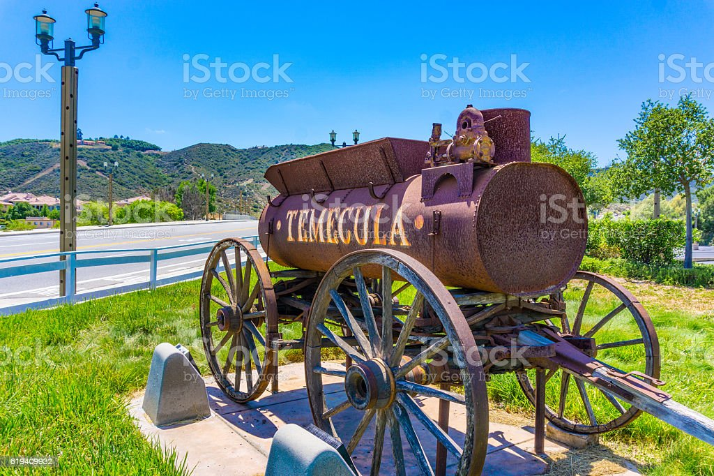 Rustic water wagon, Temecula California (P) stock photo