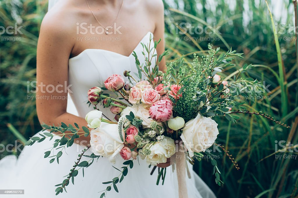 Rustic wedding bouquet stock photo