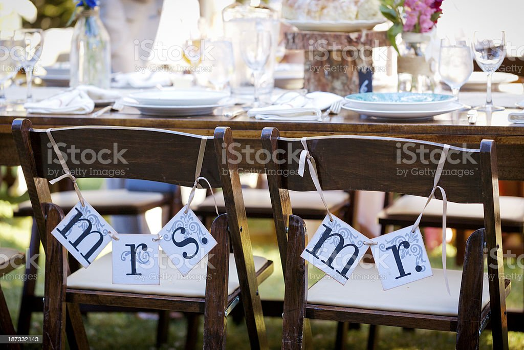 Rustic wedding place setting with signs. stock photo