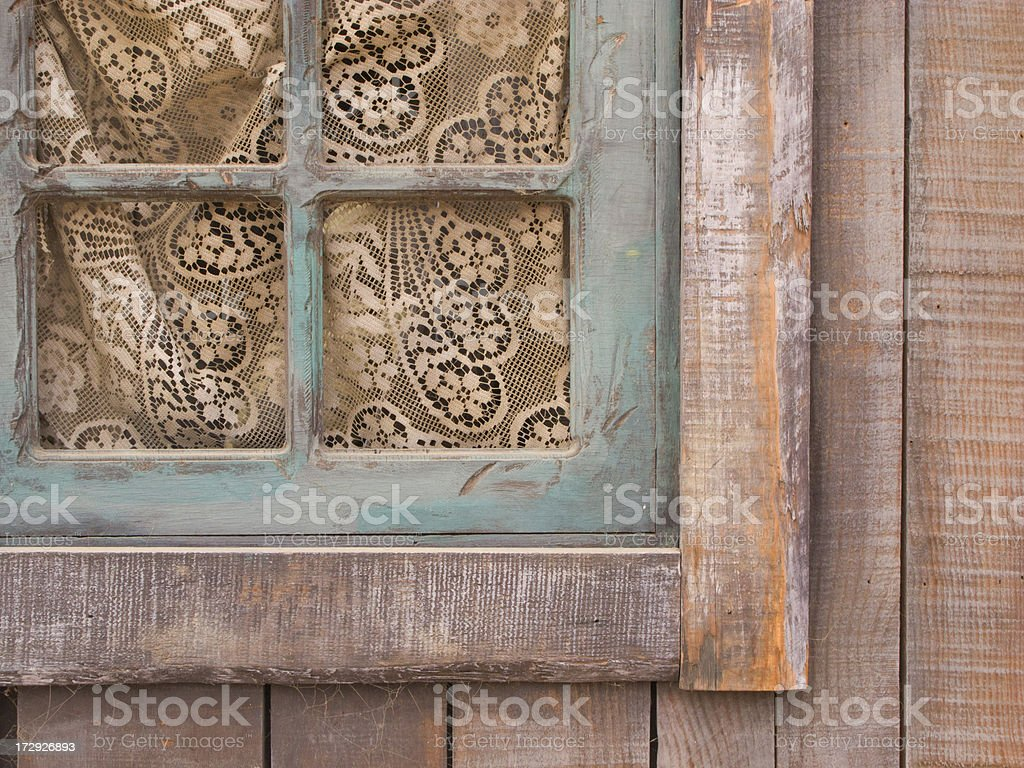 Rustic Window With Lace Curtain, Americana, Country Home, Farmhouse stock photo