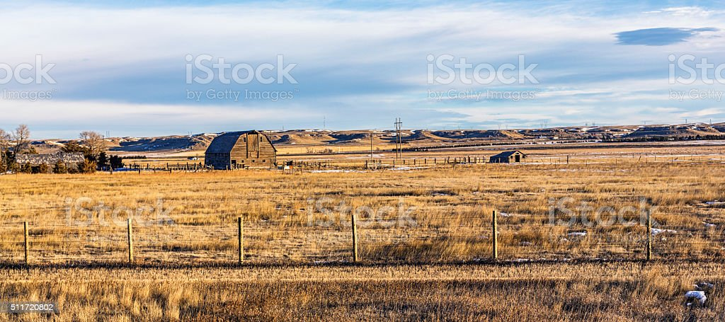Rustic Winter Prairie Ranch Stable Barn - Wyoming USA stock photo