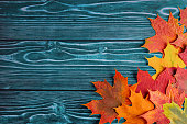Rustic Wood with Fall leaves