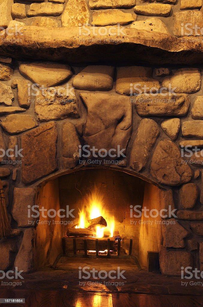 Rustic Wood-Burning Fireplace stock photo