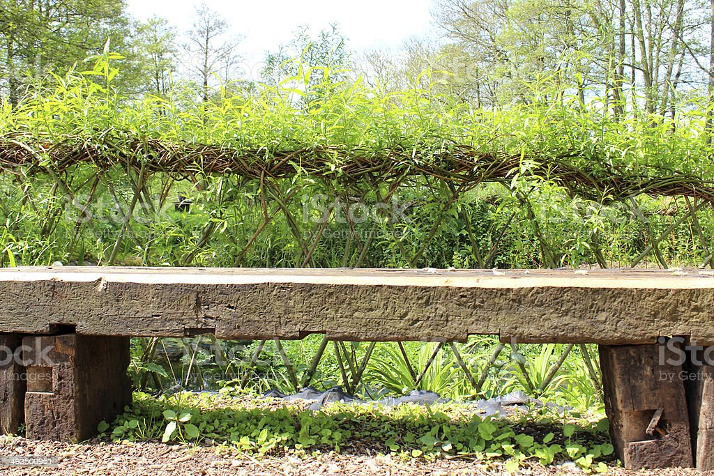 rustic wooden bench garden seat with willow weaving hedge image royaltyfree stock photo
