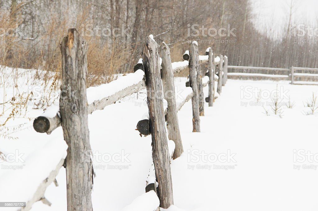 rustic wooden fence stock photo