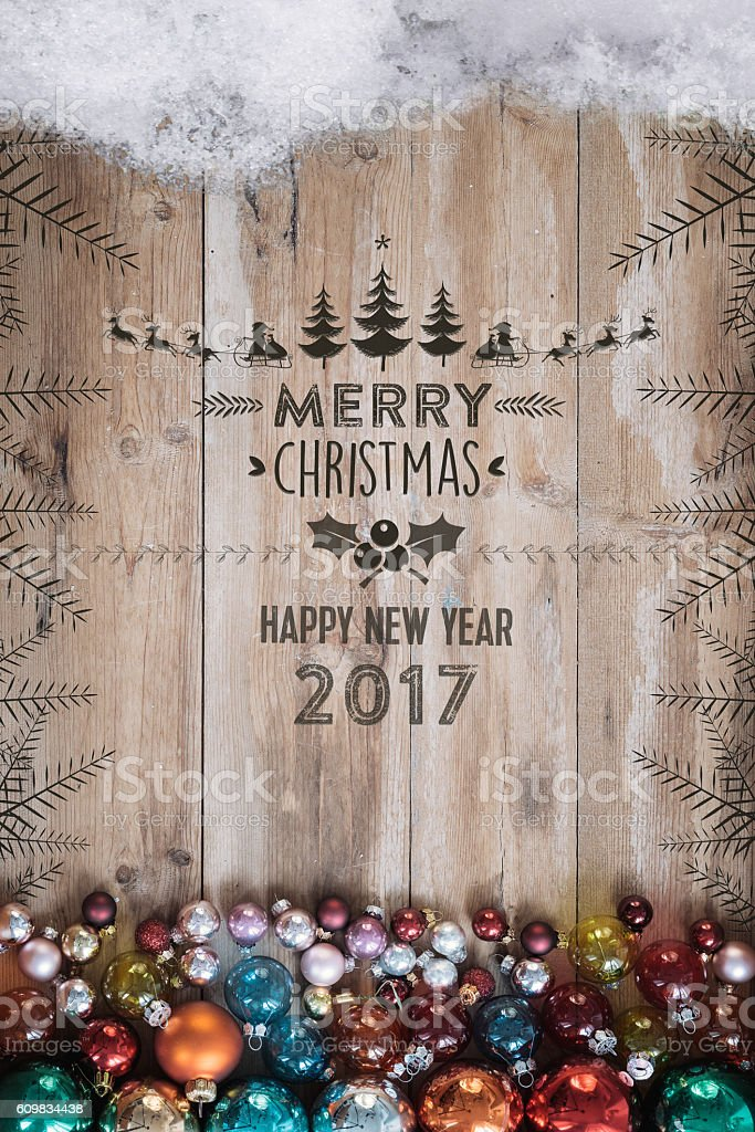 rustic wooden planks with christmas embossing and retro decoration stock photo