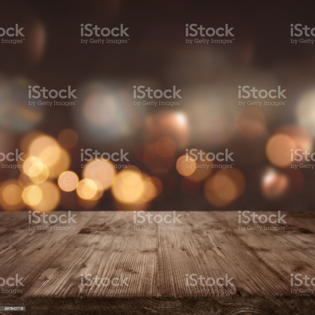 Rustic wooden table background stock photo