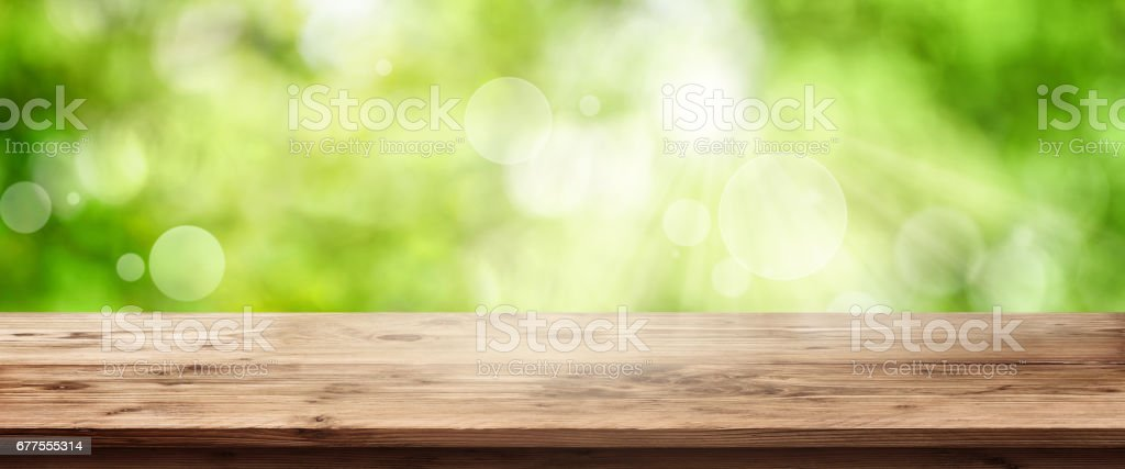 Rustic wooden table stock photo
