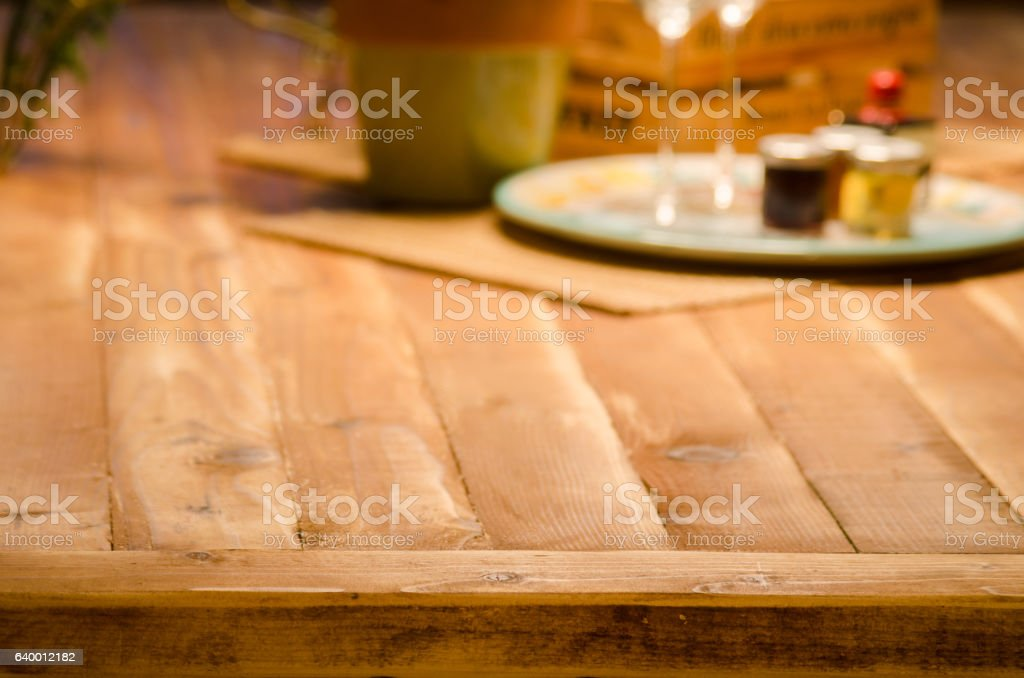 Rustic Wooden Table Top Background stock photo