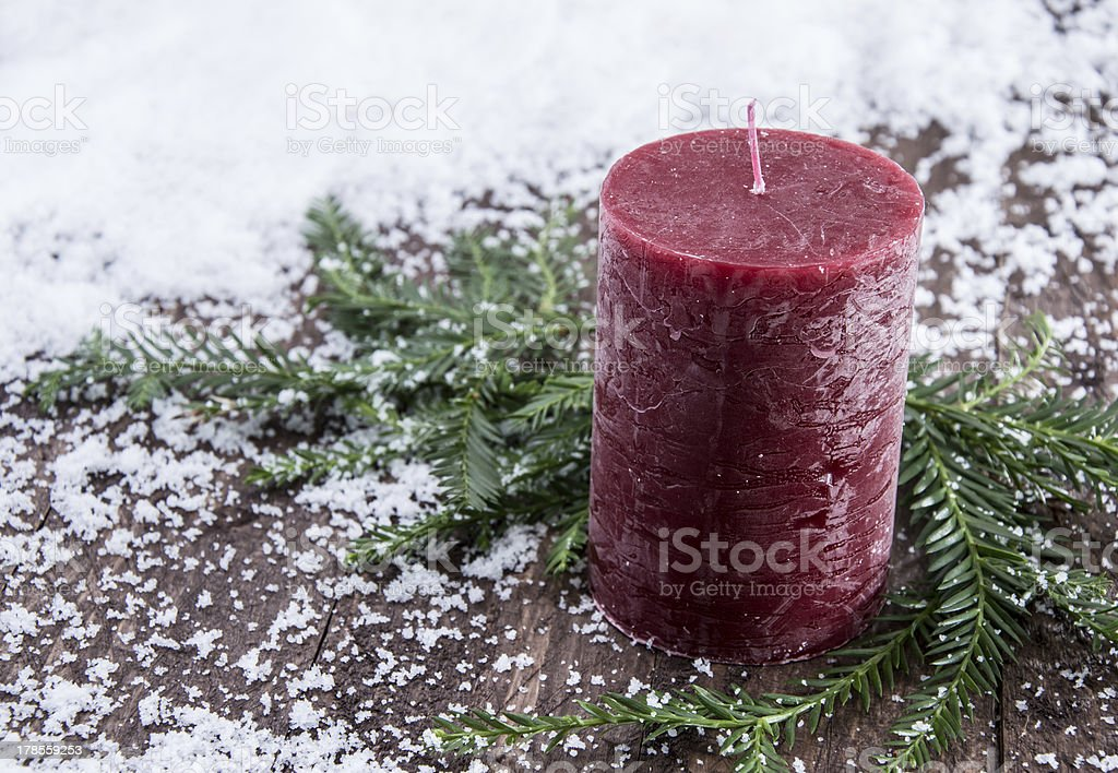 Rustical Candles in the snow royalty-free stock photo