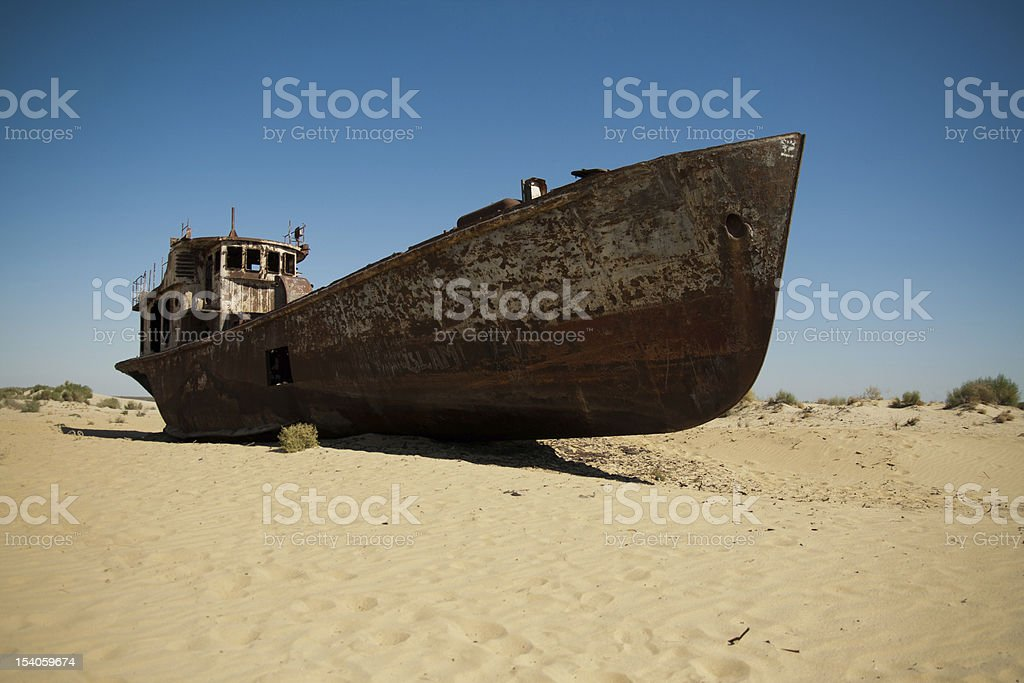 Rusting boats in the desert stock photo