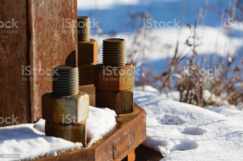 Rusting bolts stock photo