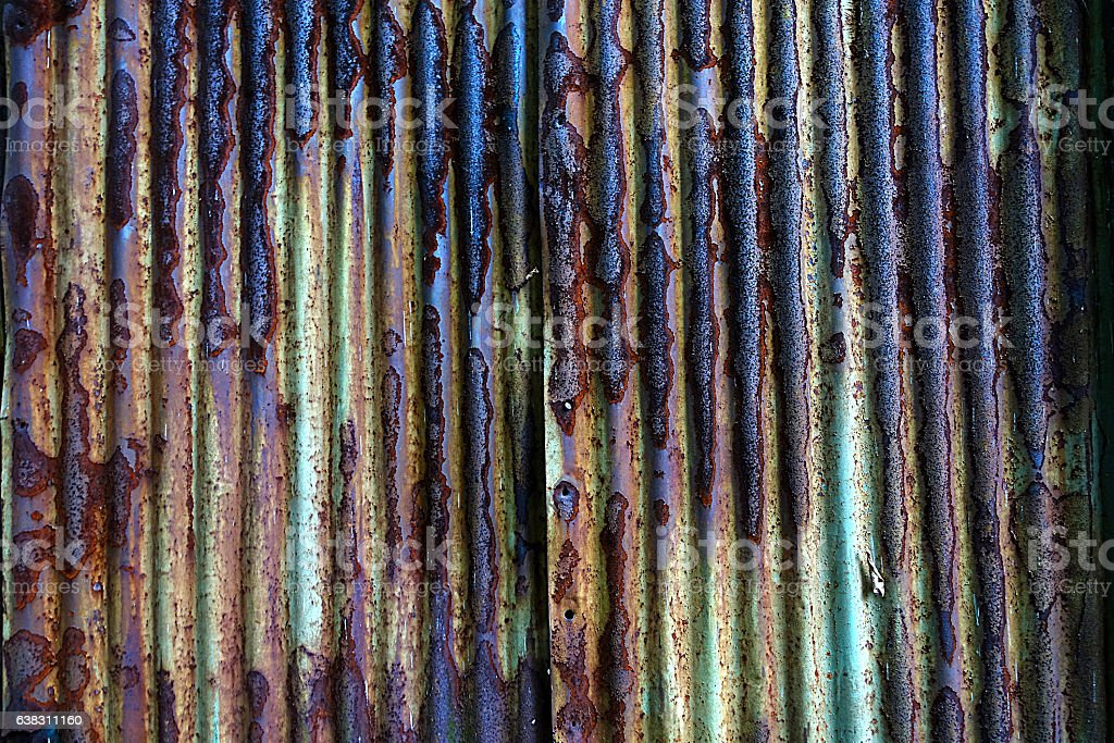 Rusting Corrugated Metal background stock photo