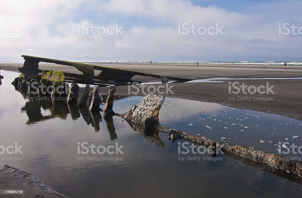 rusting frame of a shipwreck royalty-free stock photo