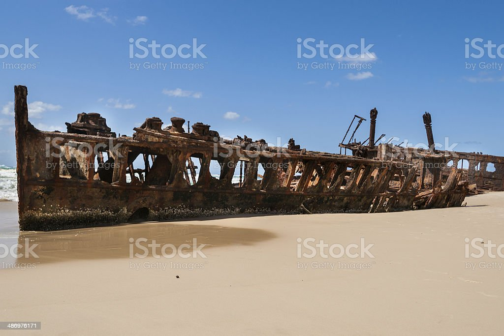 Rusting hulk of the Maheno, Fraser Island, Australia royalty-free stock photo