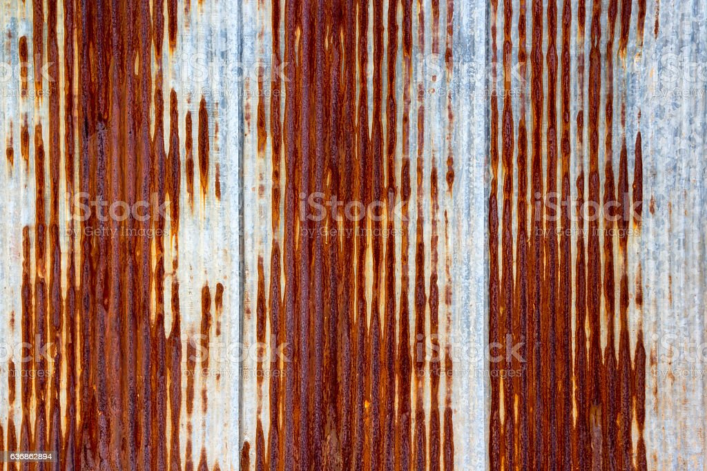 Rusting metal fencing or siding stock photo