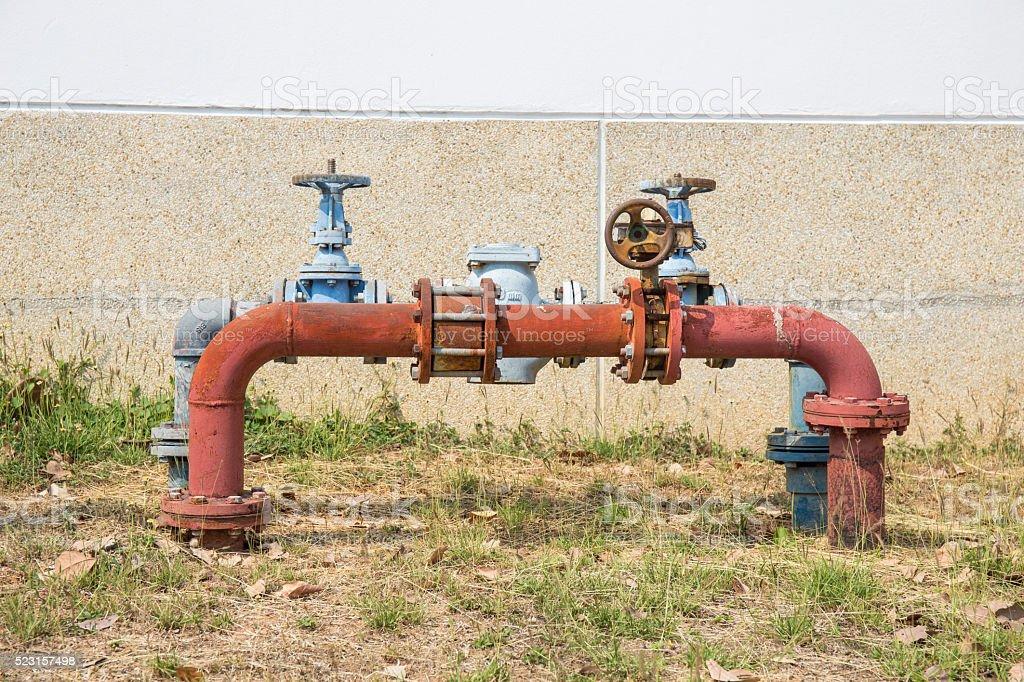 Rusting old big water valve stock photo