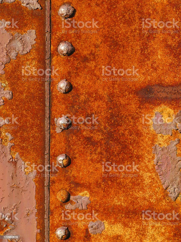 Rust,rivets and peeling paint #3. stock photo