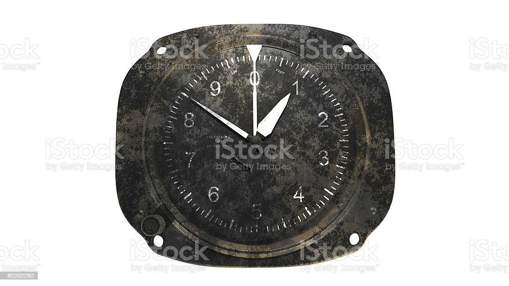 Rusty altimeter on white background stock photo