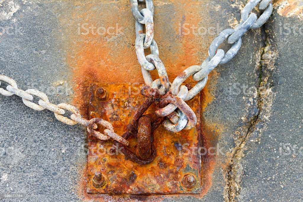 Rusty Anchor and Chains stock photo