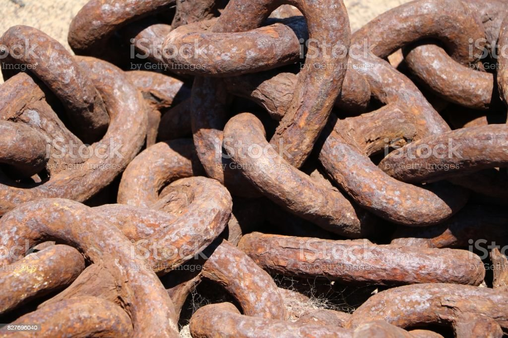 Rusty anchor chain at the Port of Fremantle, Western Australia stock photo