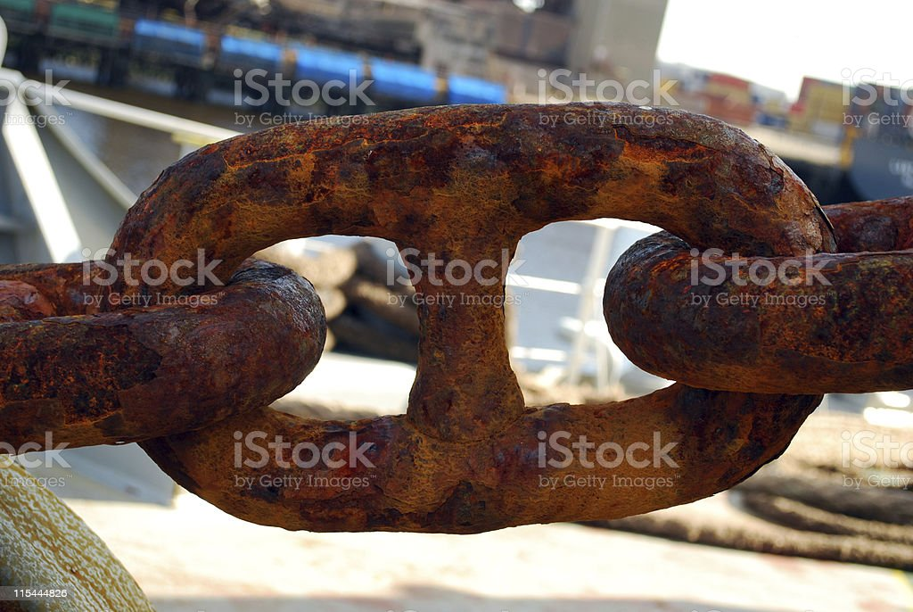 Rusty Anchor Chain Link stock photo