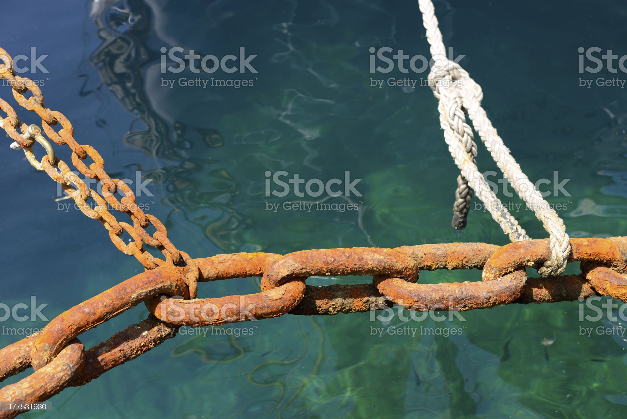 rusty anchor chain royalty-free stock photo