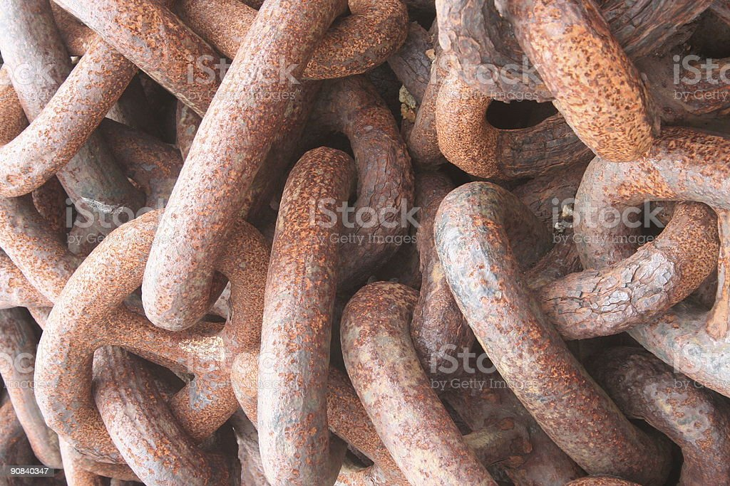 Rusty anchor chains stock photo