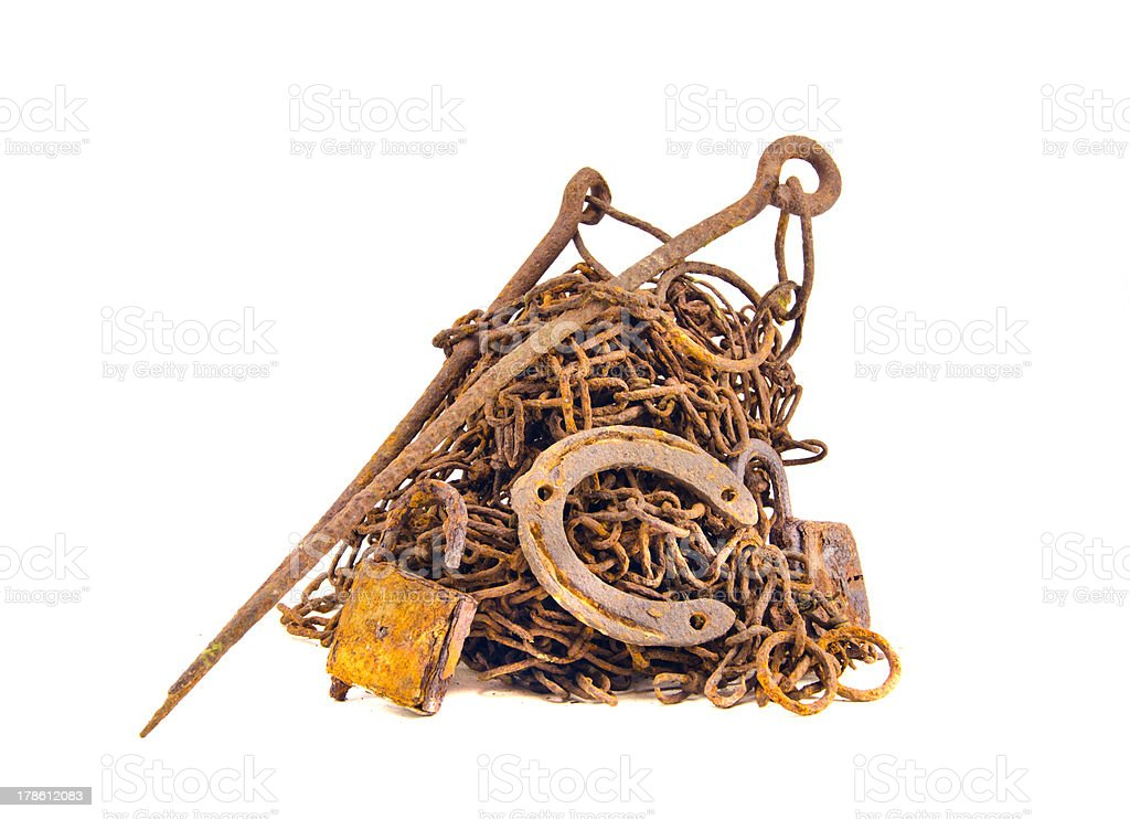 rusty and aged metal iron scrap isolated royalty-free stock photo