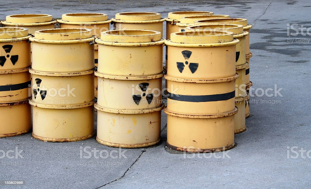 Rusty and old barrel with radioactive waste royalty-free stock photo