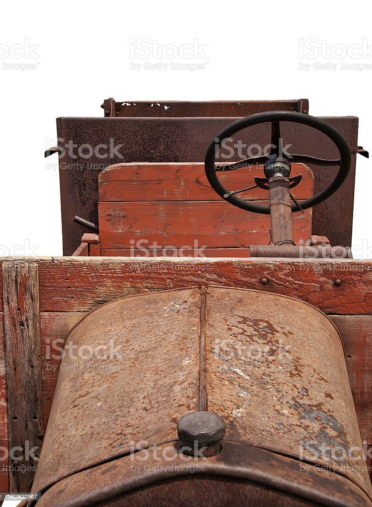 Rusty Antique Truck with Wooden Seat stock photo